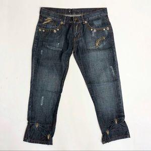 Dolce Ribble Ittierre Crop Embellished Jeans Sz 29
